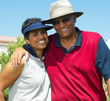 couple on golf course banner